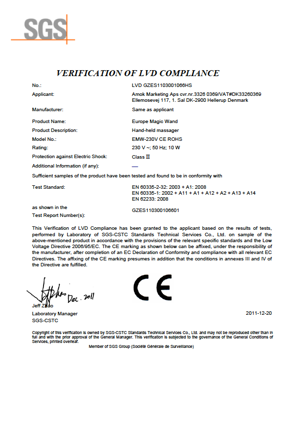Post image for CE certification LVD